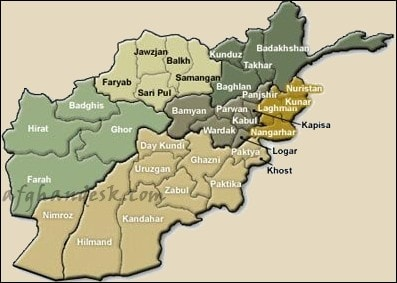 Map of afghanistan with provinces - Afghandesk.com